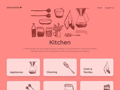 zerowaste.love - Kitchen logo typo zero waste sustainability guide styleguide ipad ipad app website navigation search icon waste zero minimalist design ui colorful product figma