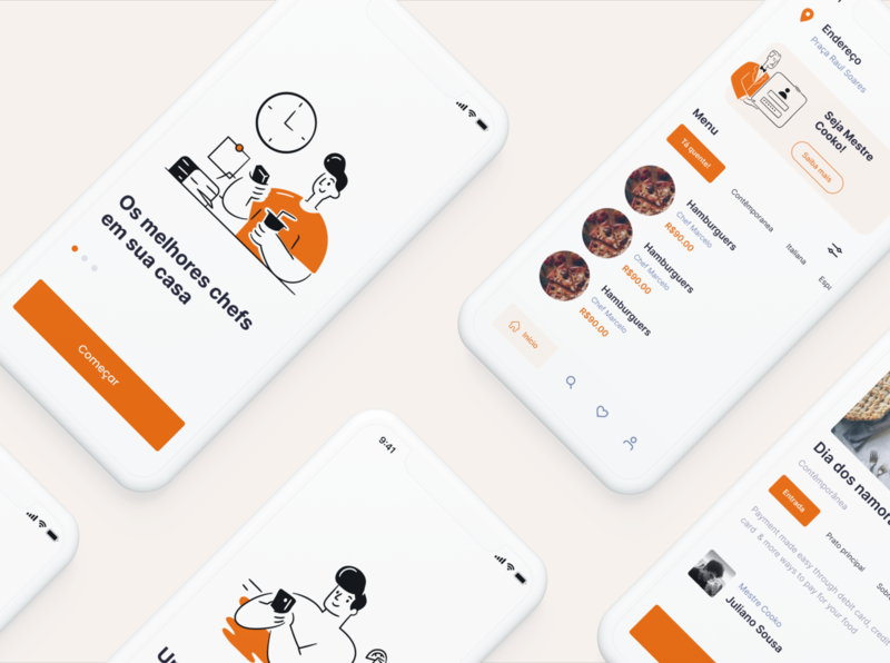 Cooko App design ux branding app ios ui design ui concept illustration food illustration personal chef food app