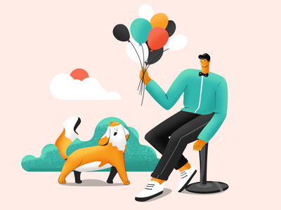 Give me a balloon balloon green dog man illustration