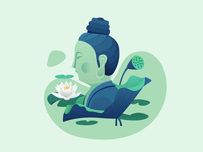 佛莲 green lotus illustration