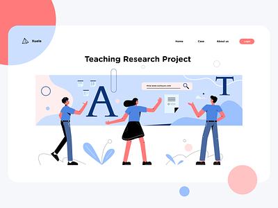 Teaching Research Project teacher blue illustration