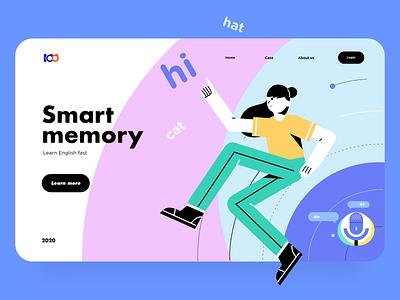 Smart  memory web learning girl illustration