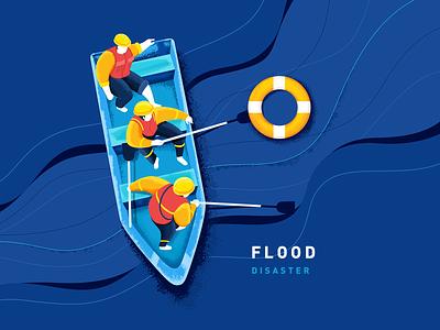 Flood fireman boat water blue illustration