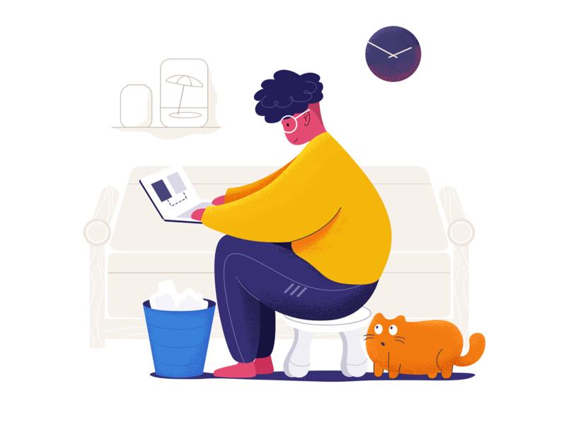 keep  work cat yellow boy illustration
