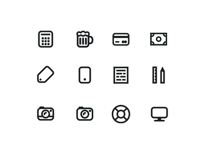 Icons computer life buoy camera ruler and pen document mobile tag money credit card beer calculator billetto