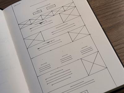 Wireframe Excercise landing page design mockup paper wireframe