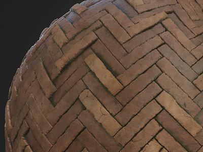 Herringbone Brick Pattern bricks 3d texture pattern procedural