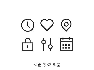 Icons calendar settings lock pin heart clock