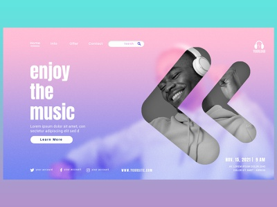 Music WebPage landing page graphic design ui
