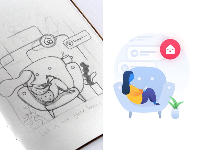 Onboarding Illustration ux illustration design ui smart home monitor energy application iran