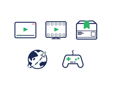 Icons icons icon controller gaming acceleration world distribution on demand stream vod live video