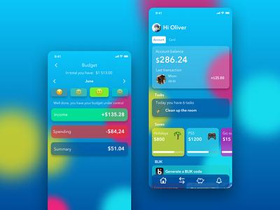 Advantica Kids | Banking app finance app bank app financial budget mobile app design fintech banking app financial app finances children tasks mobile bank ux ui finance design children bank banking bank app