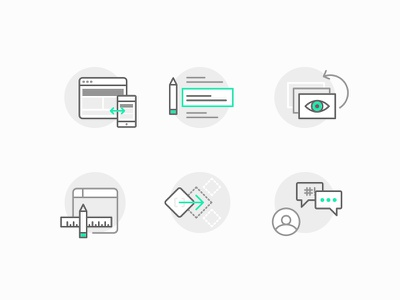 Features Icons line svg support integrations editor archiving blogging responsive iconography identity illustrations icons