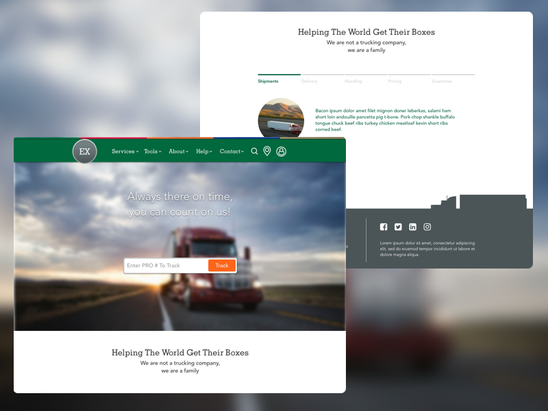 Example Freight Company Design trucking flat green interface interaction web website experience user ux ui design