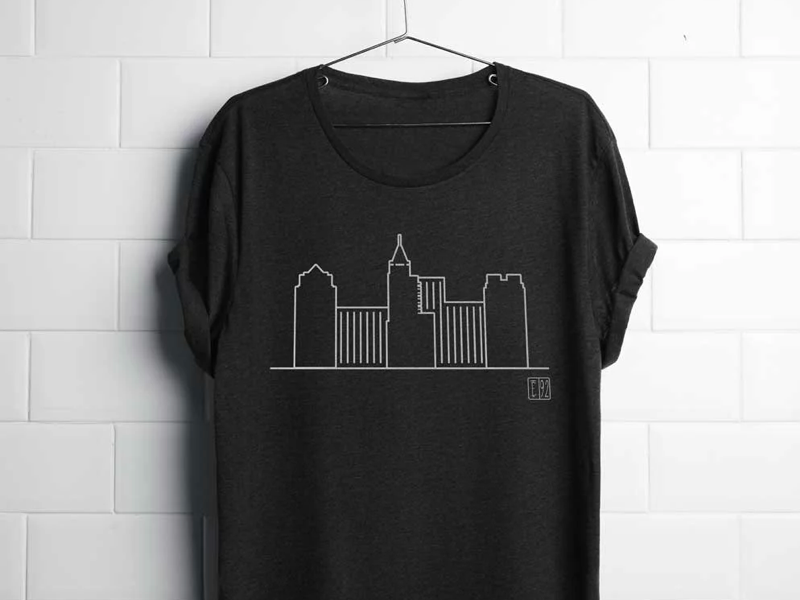 Raleigh Tee color city tee shirt clothing minimal sketch illustration flat design