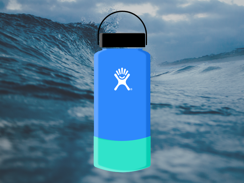 Hydro Flask Making Waves product bottle blue water hydro flask photography waves branding sketch vector illustration design
