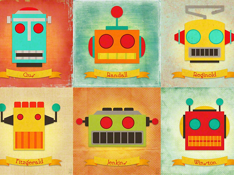 Robot Collage retro-futurism tin robots robots robot science fiction sci-fi