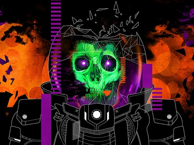 Space Wraith lowbrow pop-surrealism skeleton skull monster horror ufo alien retro-futurism science fiction sci-fi