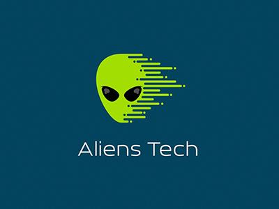Aliens Tech liquid ufo face technology startup green logotype logo tech alien