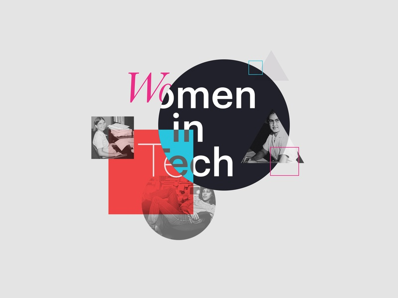 Graphic — Women in Tech carol shaw susan kare katherine johnson abstract tech history typography shapes women in tech women