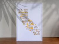 """California """"The Golden State"""" Letterpress Poster design art illustration art illustration artwork print poster letterpress state modular modern line art california"""
