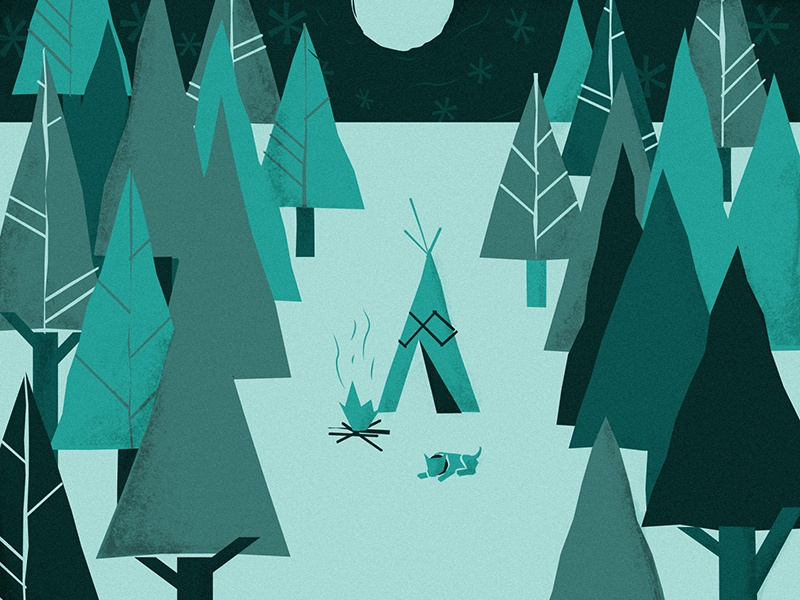 Camp Out autumn fall illustration night stars moon dog camp fire tent trees forest