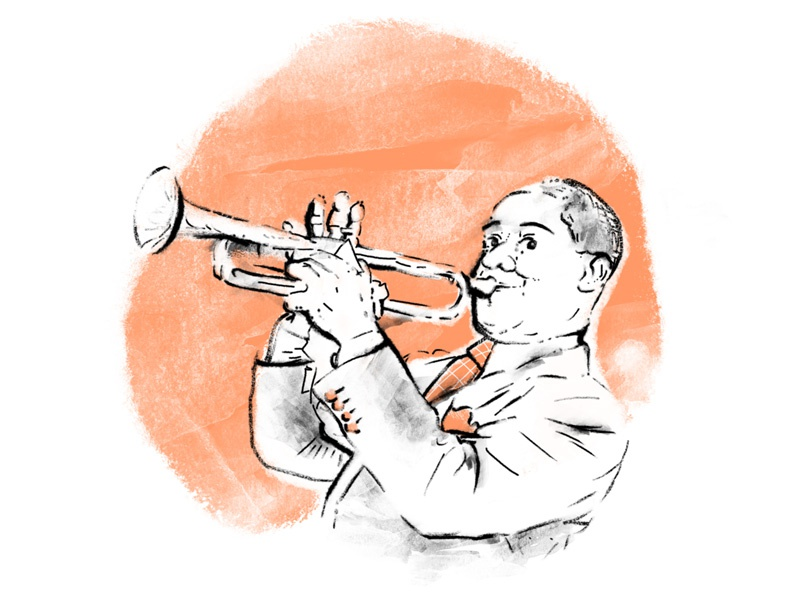 Satchmo trumpet satchmo armstrong louis one color spot color editorial texture illustration