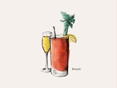 Brunch watercolor sketch drawn hand illustration restaurant menu bloody mary mimosa brunch