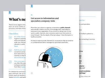 Slack Handbooks rube goldberg garden astronaut layout art direction template illustration editorial guide handbook ebook