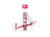 I Like You, San Francisco fog paint sketch drawn hand illustration like bridge golden gate sf california san francisco