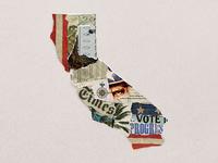 California Primary Vote paper torn illustration collage democracy election state vote primary california