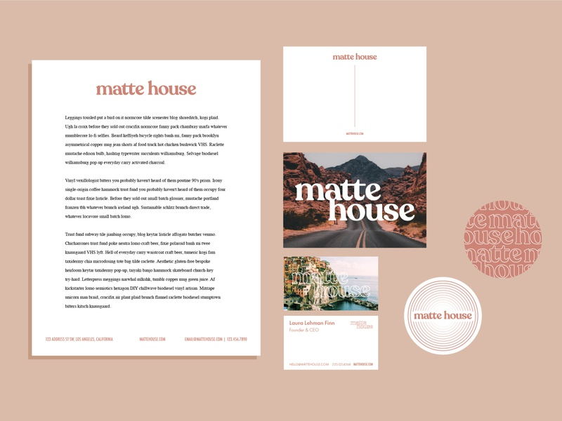 Matte House - 4 branding presentation illustrator business card postcard sticker marketing collateral