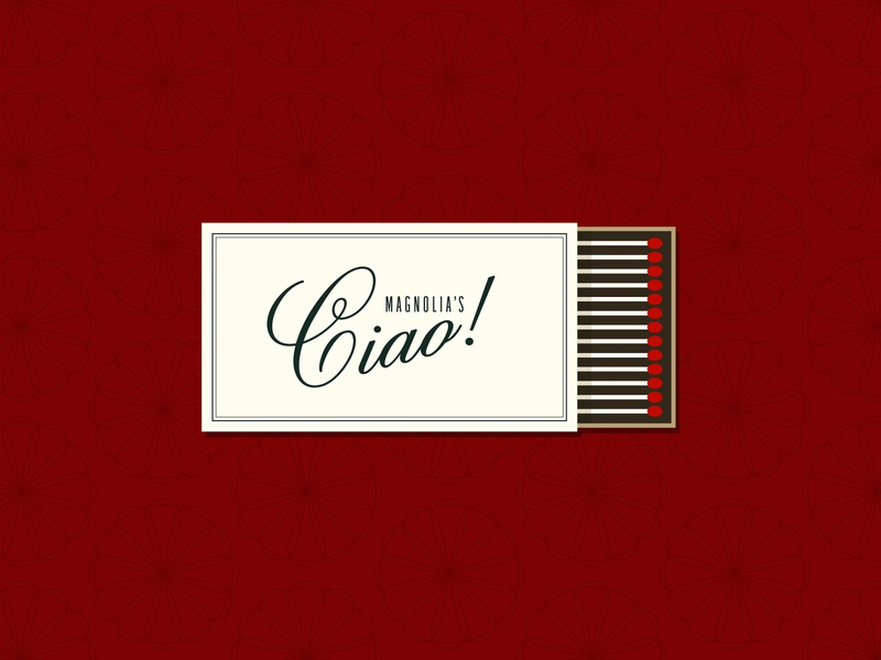 Ciao! pattern flowers red illustrator magnolia restaurant italian matchbox