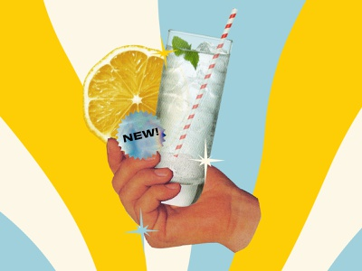 Float cutout email graphic photoshop yellow color mint alcohol straw collage sticker lemon float