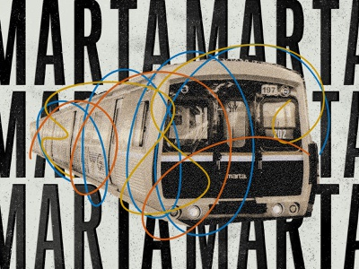 MARTA photoshop texture color rail train grit fast grunge misaligned blueprint vintage yellow blue orange transportation public marta