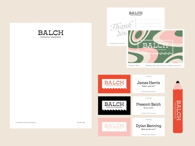 Balch Collateral cards business letterhead thank you collateral pencil carpenter orange pink green vibe groovy vector logo branding color illustrator illustration design