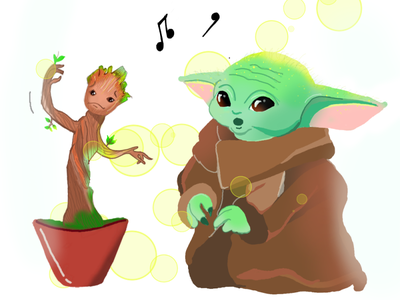 Baby  groot -  baby yoda music starwars marvelcomics marvel art yellow green groot babyyoda yoda digitalart design character illustration