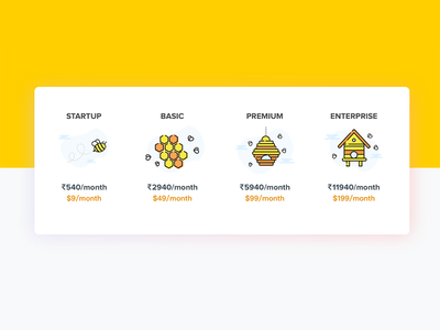 Pricing UI cards honeybee bee web ui pricing