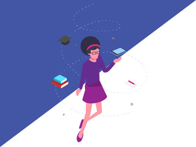 Isometric Character Design - Teacher education ui illustration product design web design web isometric cartoon character