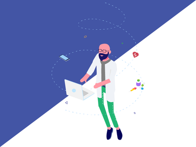 Isometric Character Design - Doctor dailyui isometric web design illustration health