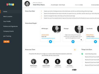 Employee Onboarding ux-ui team card product web ui design