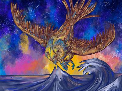 Giant Owl Fishing digitalart sketch art design illustration
