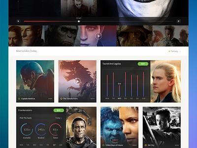 Cinema responsive web cursor play slide seat ticket cinema movie app