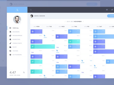 Tancy: Calendar sale board platform guideline tile case study chat video responsive app web calendar