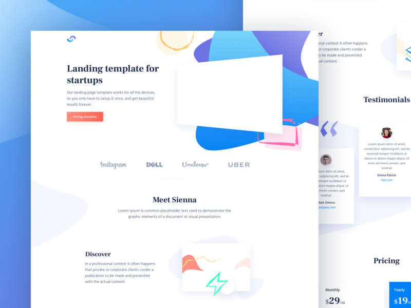 Sienna - HTML landing page for startups theme design ui template landing page html free freebies freebie css