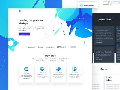 Blue - Free HTML landing page ui elements theme design template landing page html freebie free css