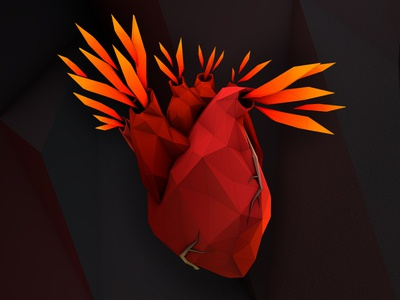 lowpoly heart for tattoo
