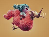fliying pollo characterdesign illustration render cinema4d 3d
