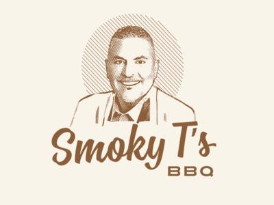 Smoky's BBQ lockups branding logo illustration portrait