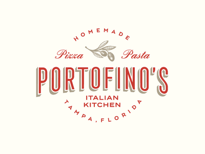 Portofino Italian Kitchen hand-drawn logo pasta pizza restaurant